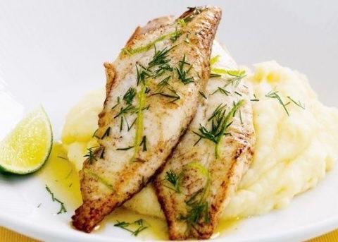 Fish in Lemon Sauce with Garlic Mash