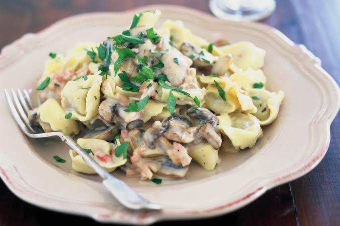 Ricotta Spinach Tortellini in mushroom sauce