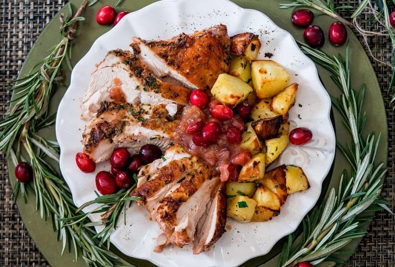Roast Turkey, Cranberry, Potatoes